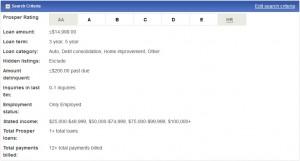 Person-to-Person loan search criteria