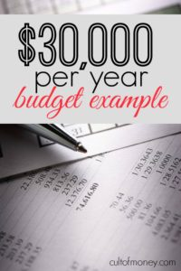 Wondering how you're going to make it on a $30,000 budget? Here's a budget example as well as some tips to help.